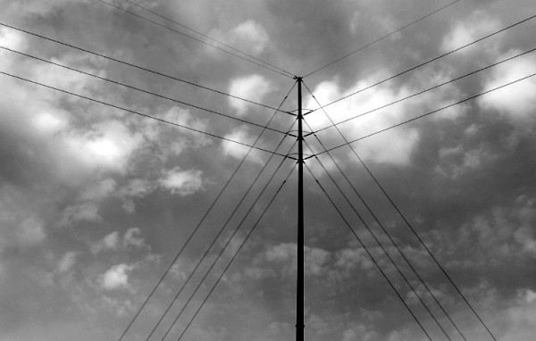 black-and-white lines on the sky